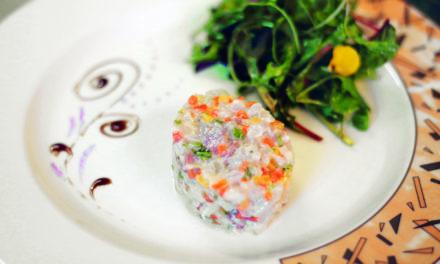 Le tartare de féra aux piments végétariens